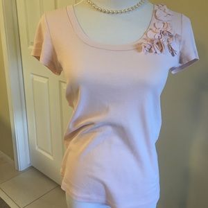 J Crew Fabric Embellished Tee Size L